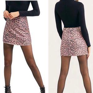NWT | Free People | Pink Cheetah Sequin Mini Skirt